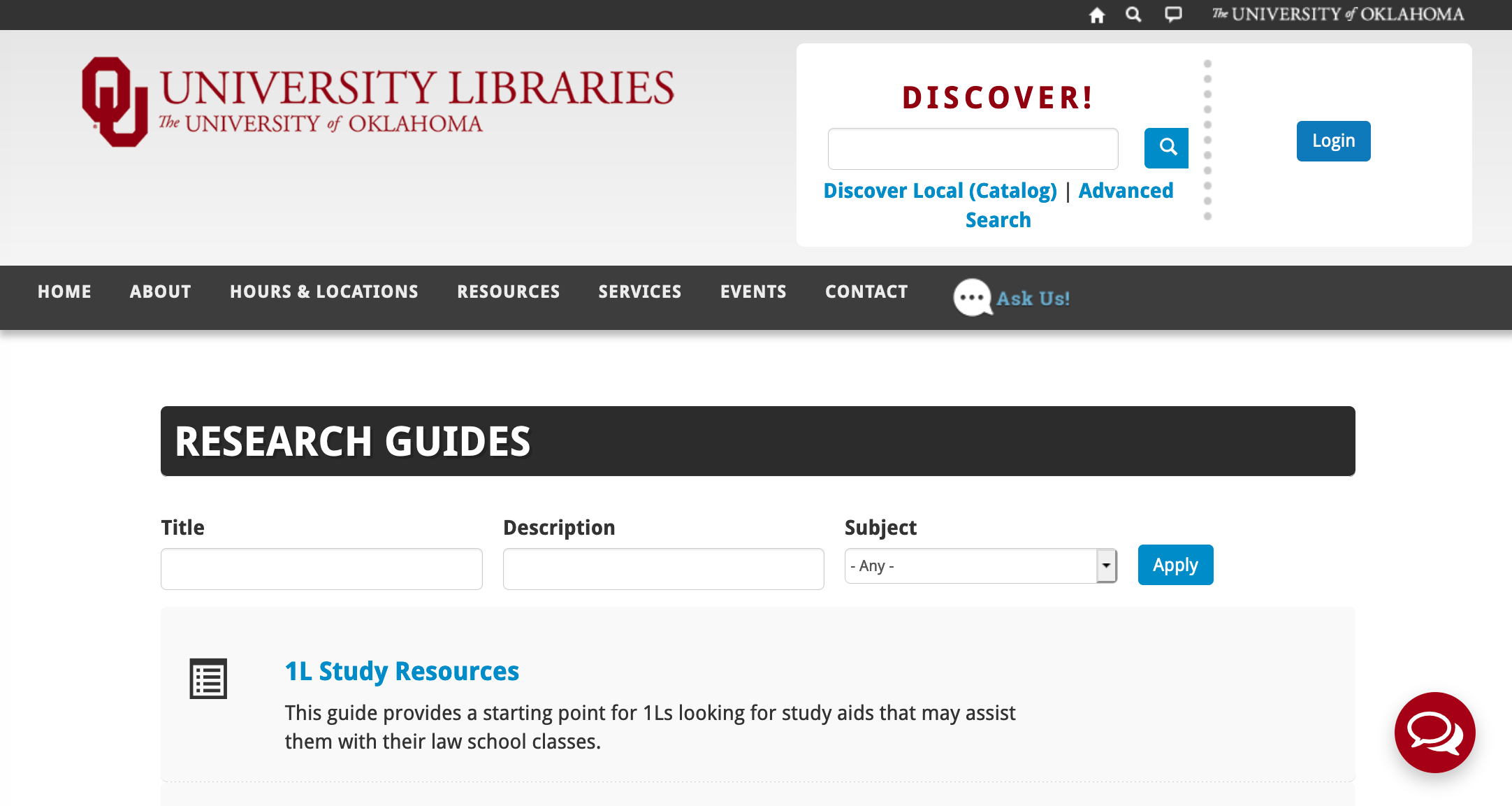 Research Guides on OU Libraries Website Icon