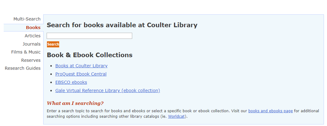 library homepage search box with book tab selected