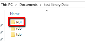 PDF folder within test library.Data