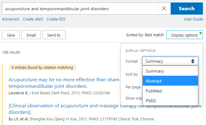 In the Display Options menu to the upper right of the search results, select Format: Abstract to see all available abstracts for your results list.