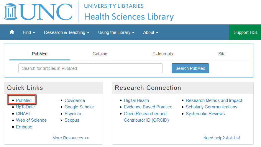 PubMed is in the Quick Links box on the left side of the HSL website