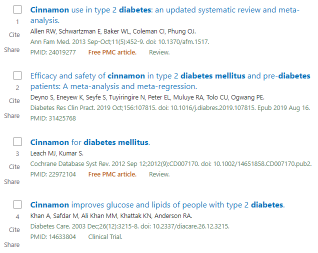 PubMed Results List.  Result 1 is a meta-analysis from 2013.  Result 2 is a meta-analysis from 2019.  Result 3 is a Cochrane Review from 2012.  Result 4 is a Clinical Trial from 2003.