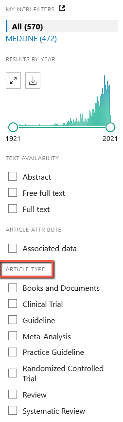 PubMed has Year and Article Type filters on the left side of the results page