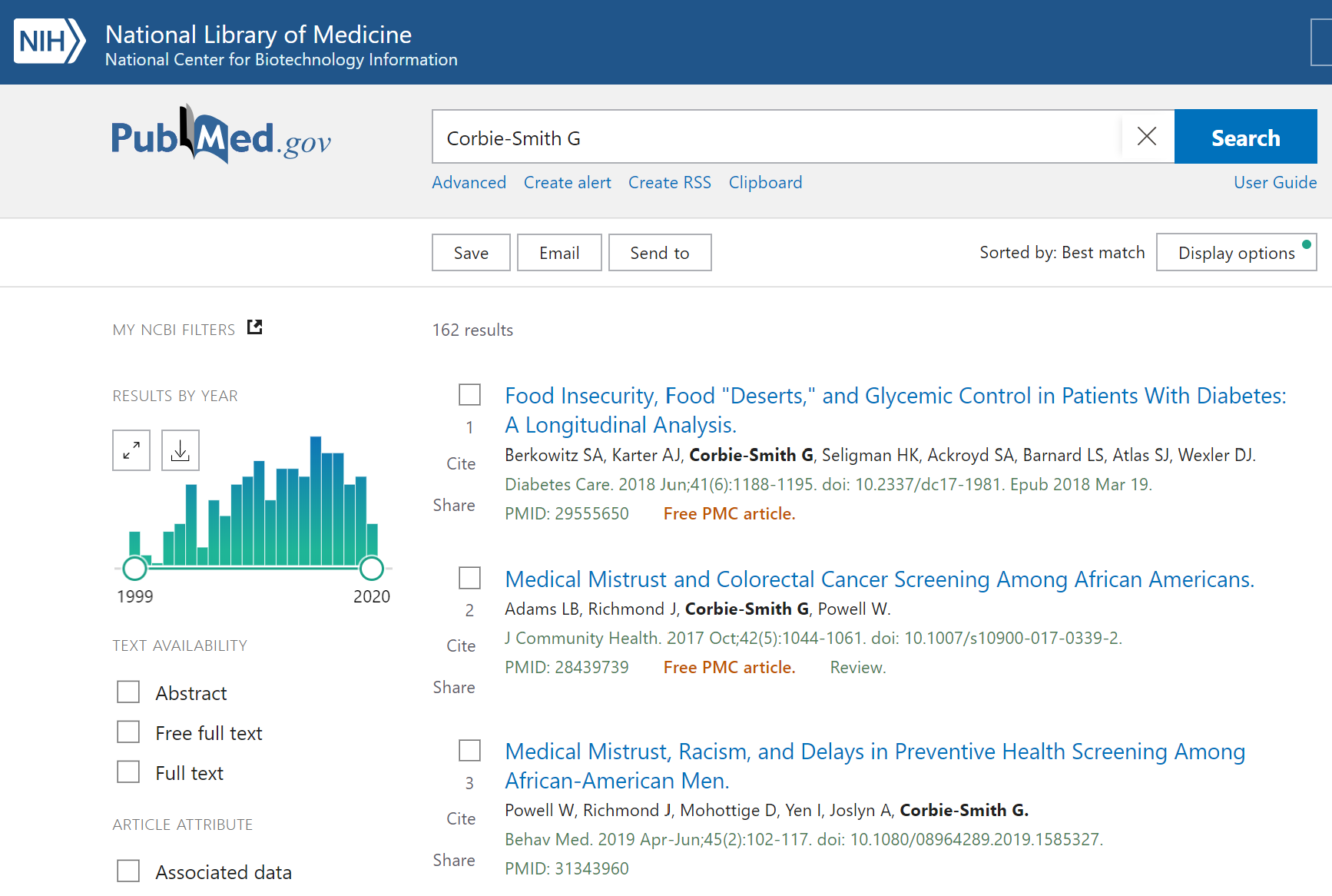 An author search for Corbie-Smith G in PubMed