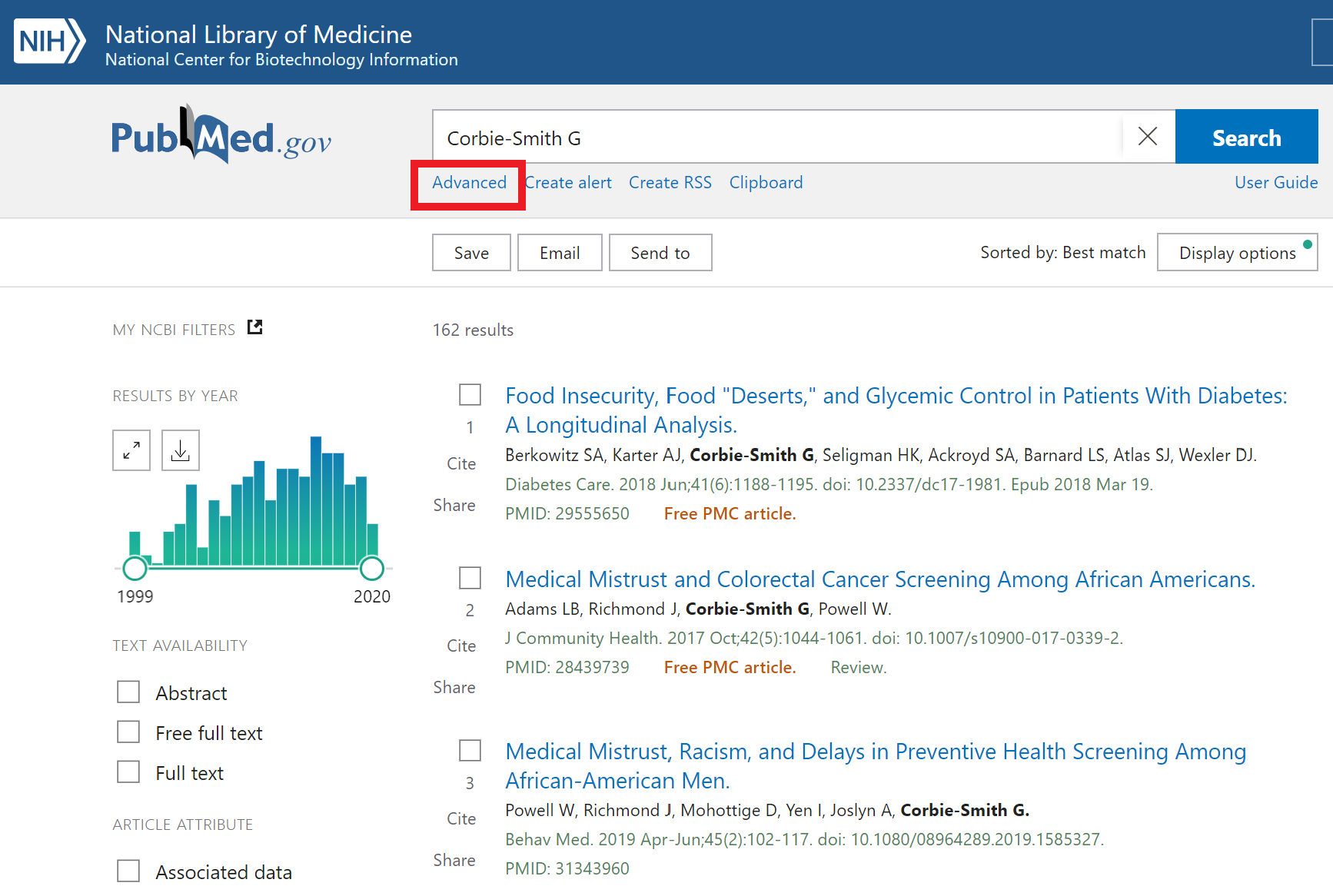 The Advanced Search link is located under the PubMed search box