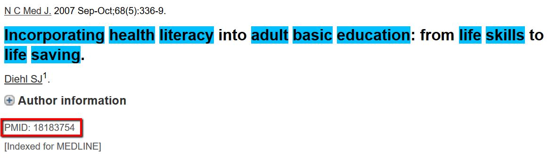 PubMed citation example