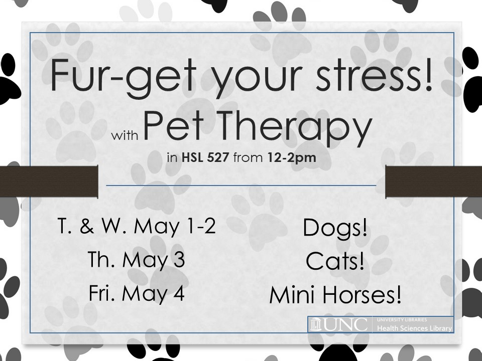 Pet Therapy May 1st through 4th at HSL