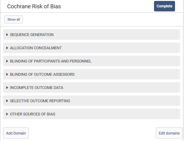 Categories of the Cochrane Risk of Bias tool