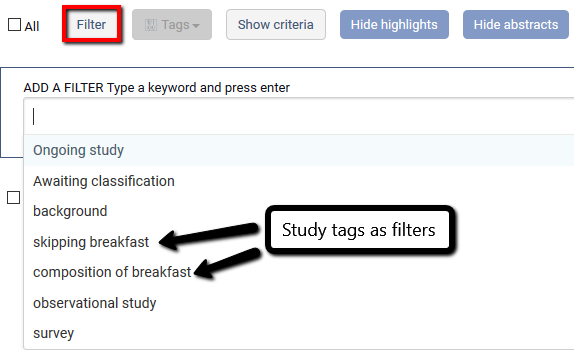 Using the filter menu to search for tags