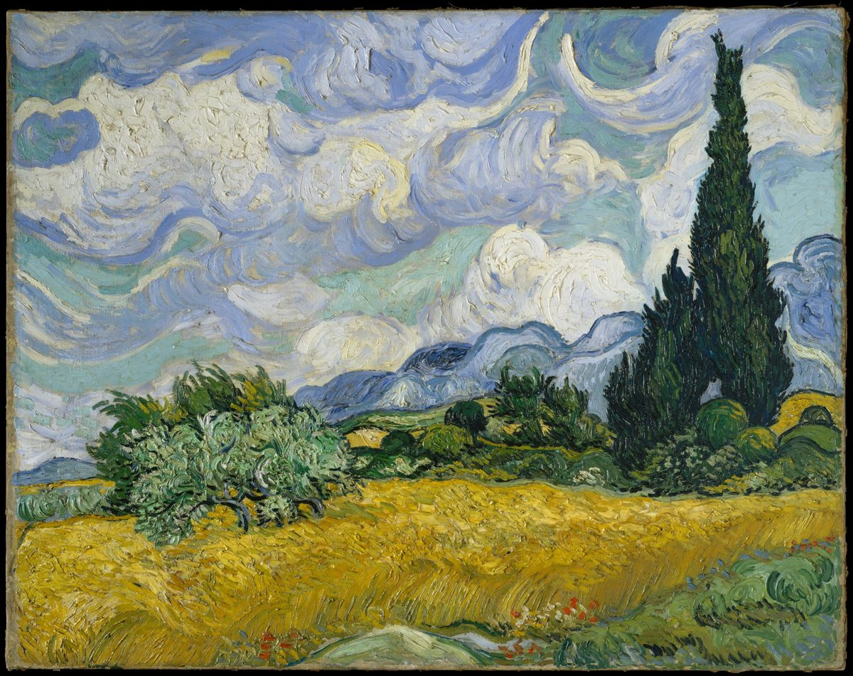 Van Gogh Wheat with Cypresses