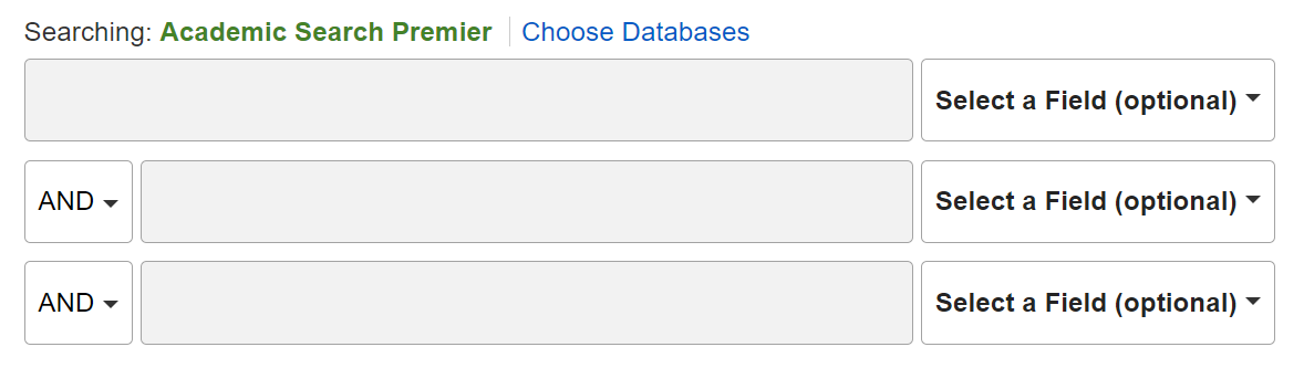 Advanced search screen from an EBSCOhost database.