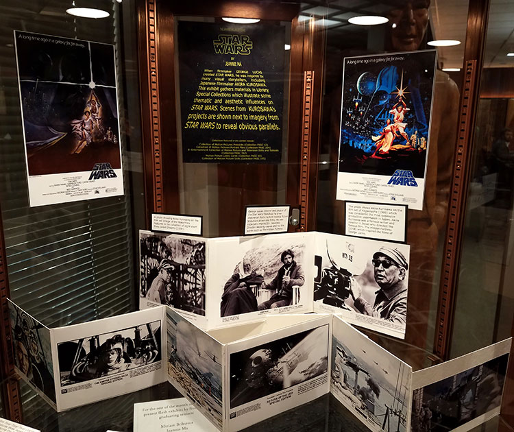 image of flash exhibit case showing Star Wars and Kurosawa projects