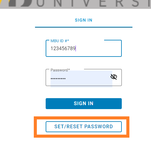use the set/reset password button