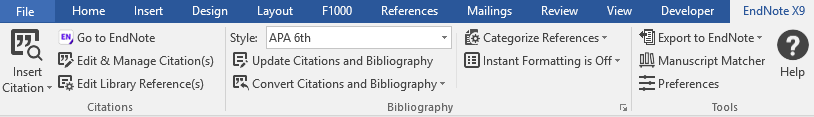 EndNote's Cite While You Write feature in Word