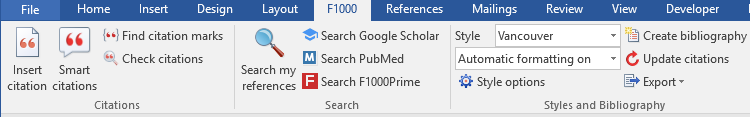 Screenshot of the F1000 Word plug-in toolbar
