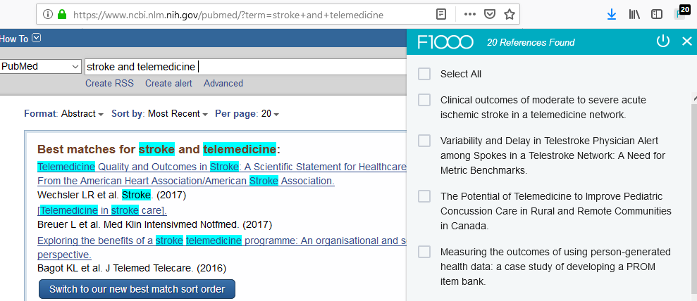 F1000 plug in on PubMed results page