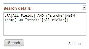 PubMed search details for tPA and stroke