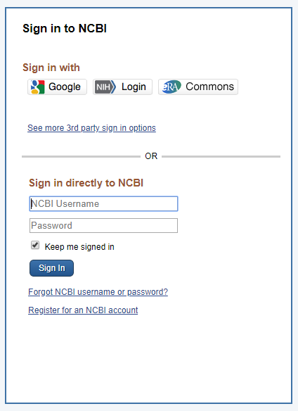 Create an NCBI account
