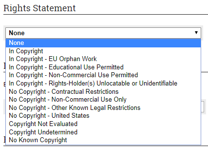Rights Statement Pull Down Menu