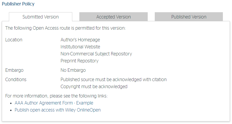 Example Publisher Policy from Sherpa Romeo