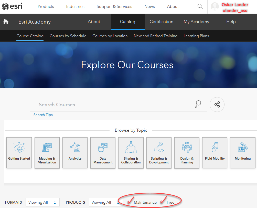View available Esri courses
