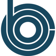 Letter C with lowercase letter B and C inside of it. Letters in teal.
