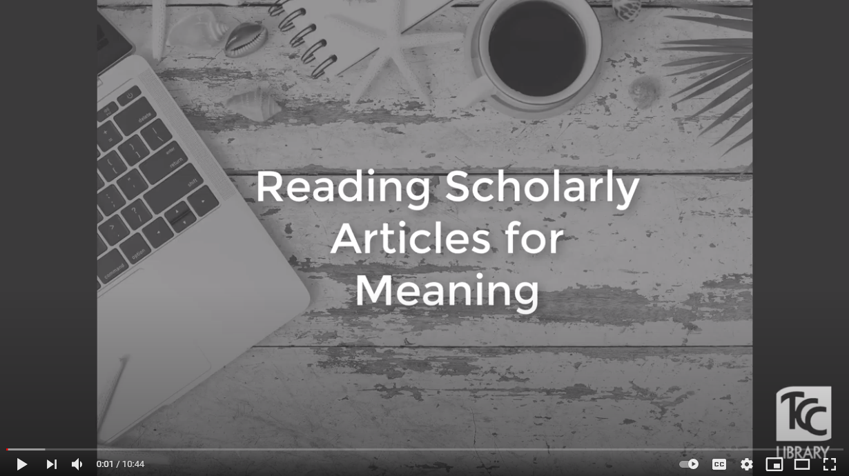Reading Scholarly Articles for Meaning Video