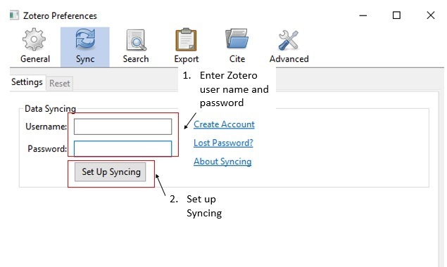 screenshot of Sync tab in Zotero preferences menu with Data Syncing section highlighted with username, password and set up syncing indicated