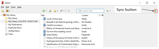 screenshot of Zotero library with Sync button in upper right hand corner highlighted