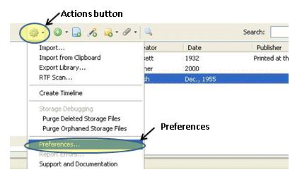 screenshot of Zotero library with Actions button open and Preferences highlighted