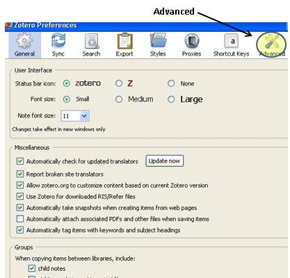 screenshot of Zotero preferences window open with Advanced tab highlighted