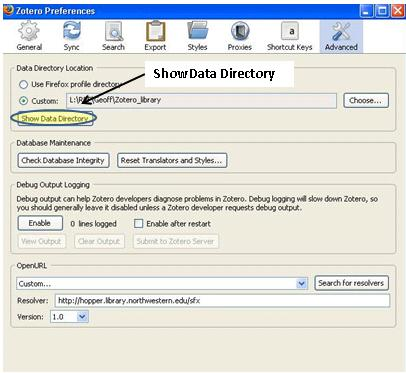 screenshot of Advanced tab in Zotero preferences window with Show Data Directory highlighted