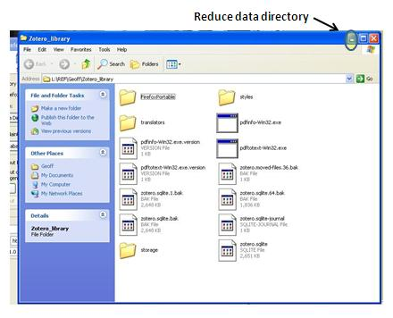 screenshot of data directory window being reduced/minimized