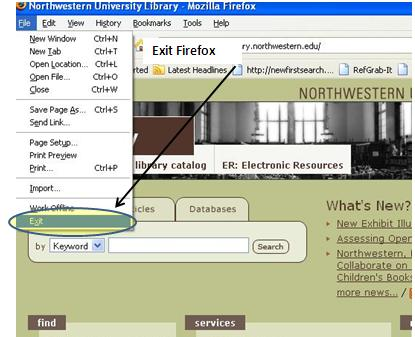 screenshot of Firefox window with File menu open and Exit highlighted