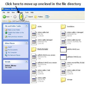 screenshot of Zotero data directory window with Up icon highlighted