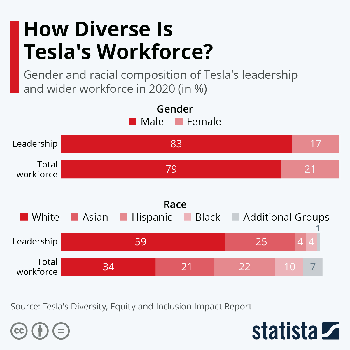 Statista chart for How diverse if Tesla's leadership?