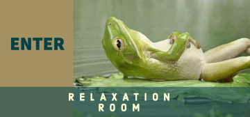"""Image of a frog laying on its back, with the words """"Enter Relaxation Room"""""""