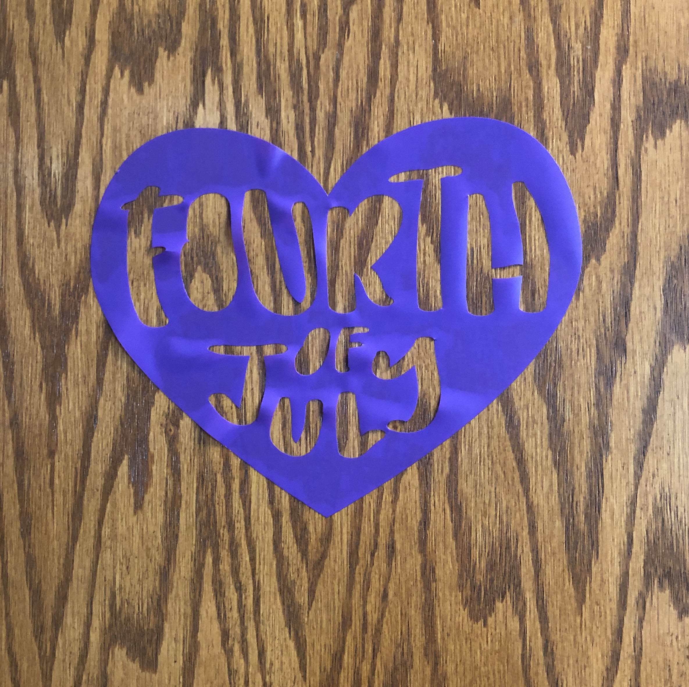 "Purple Heart with ""Fourth of July"" Inside It"