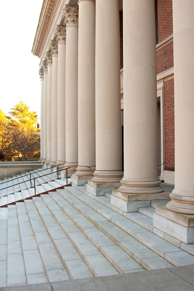 Front steps of Widener Library, angle shot of pillars