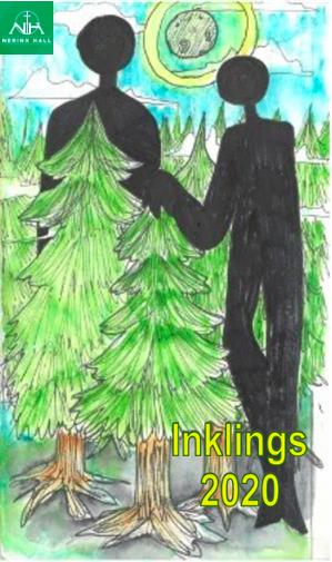 Artwork of tall shadows among evergreens