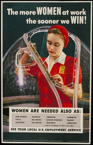Woman factory worker in coverall jumpsuit with hair tied back assembles a part (on airplane cockpit?).