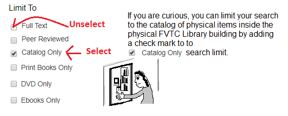 Unselect full-text and select catalog only