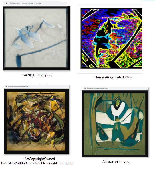 Examples of AI and Human modified art. Clockwise from upper left corner GANPICTURE HumanAugmented ArtCopyright and AI Face-palm