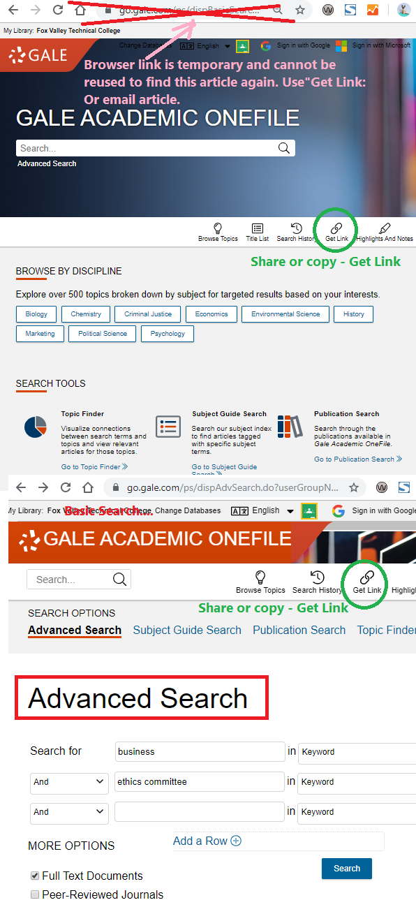 New forms for Gale search.  Use  Get Link if you need to reuse or share URL