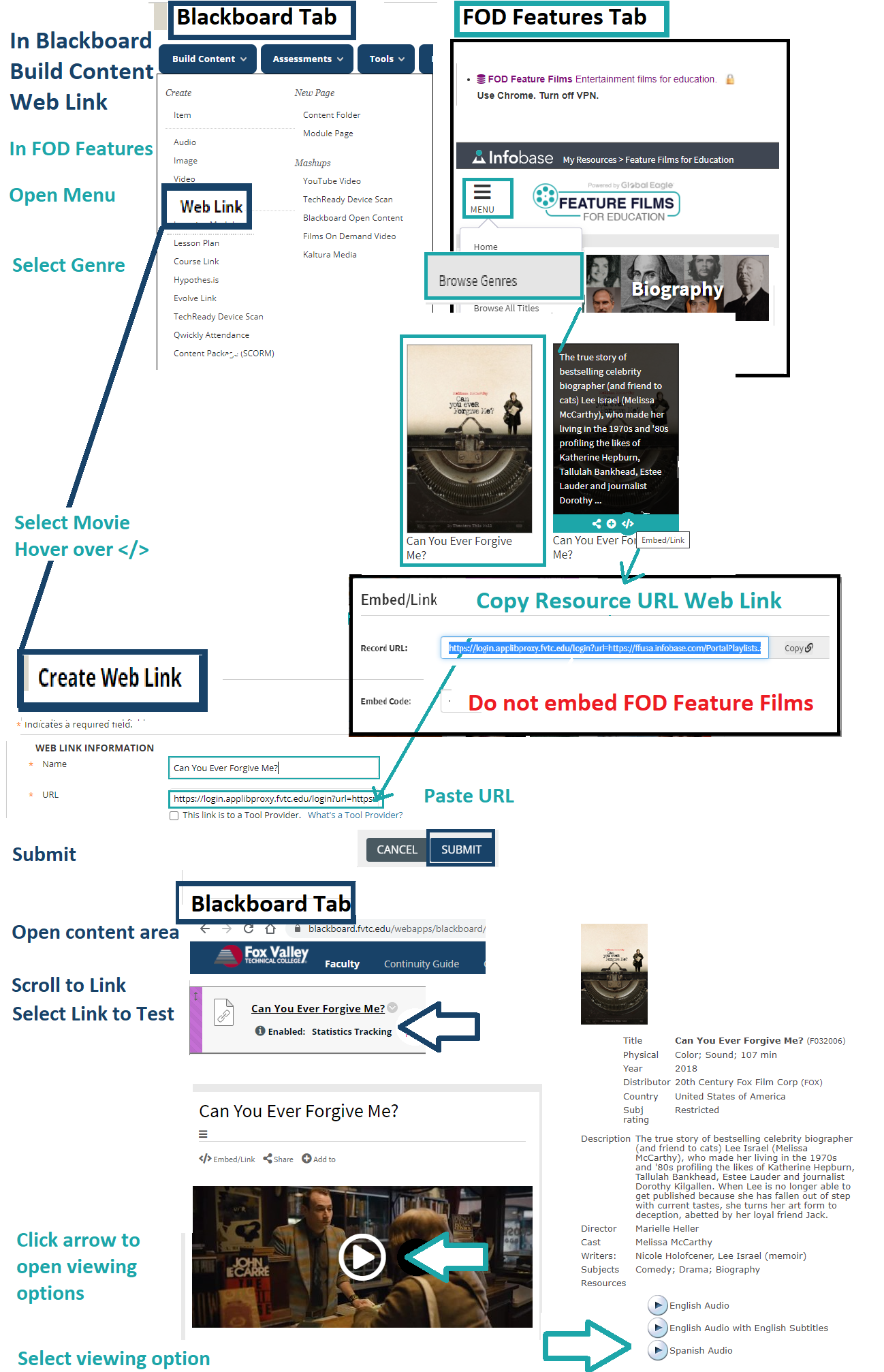 open FOD features to get share link to put into Bb as web link