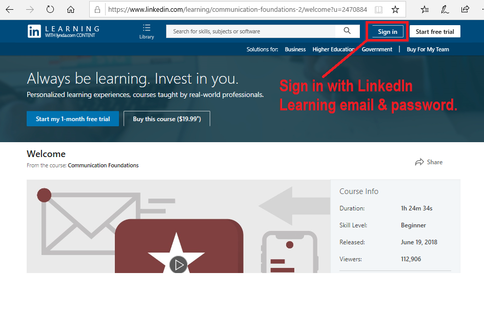 Sign in to LinkedIn Learning