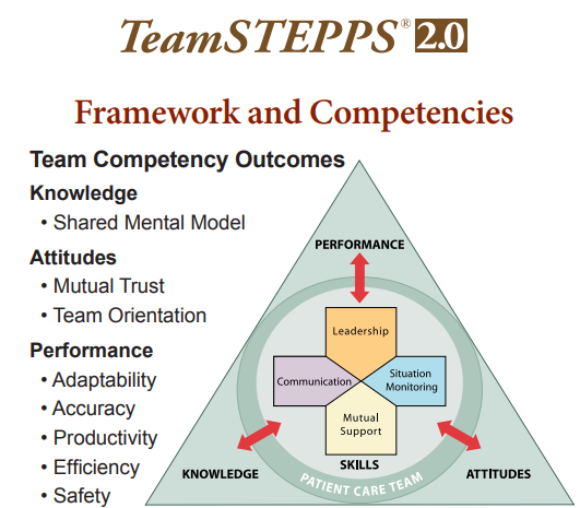 Team Strategies & Tools to Enhance Performance and Patient Safety framework and Competencies triangle.