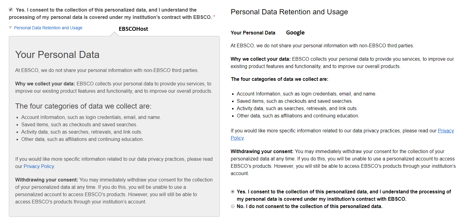 Ebsco or Google both note privacy permissions you grant them
