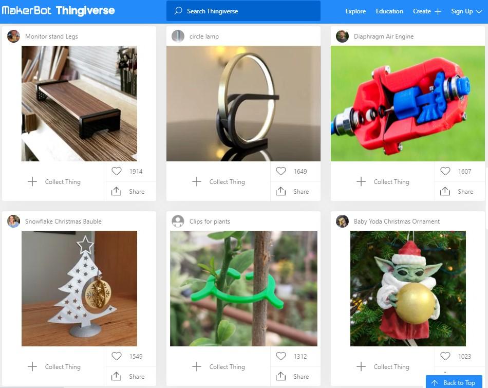 Thingiverse Screenshot