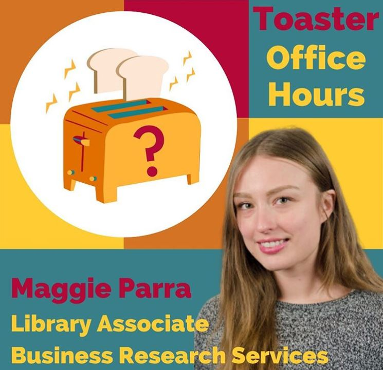 Toaster office hours logo with Maggie Parra